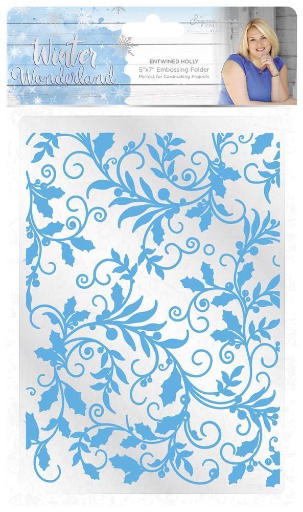 Sara Signature Winter Wonderland 5x7 Embossing Folder - Entwined Holly