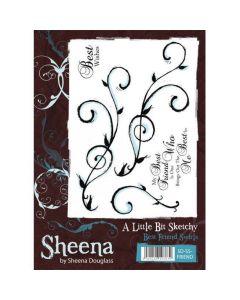 Sheena Douglass A Little Bit Sketchy Rubber Stamp Set - Best Friend Swirls