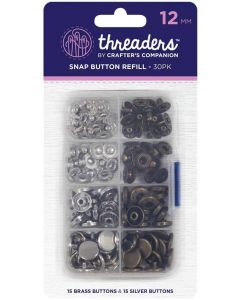 Threaders 12mm Snap Button Refill Pack - 30 Buttons