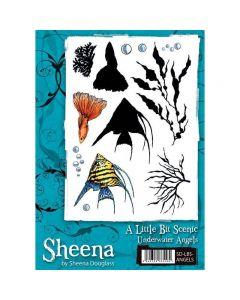 Sheena Douglass A Little Bit Scenic A5 Rubber Stamp Set - Underwater Angels