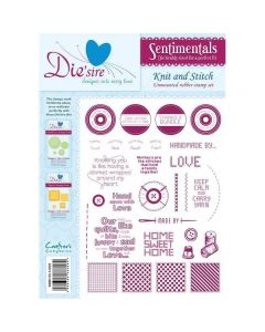 Die'sire Sentimentals Rubber Stamps - Knit and Stitch