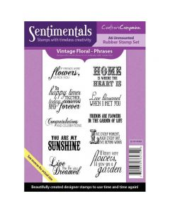 Crafter's Companion Vintage Floral Collection A6 Sentimentals Rubber Stamp Set Phrases