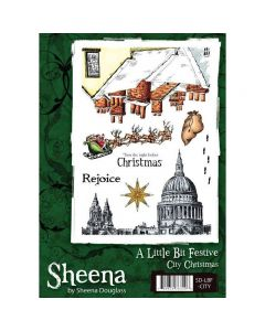 Sheena Douglass A Little Bit Festive A5 Rubber Stamp Set - City Christmas