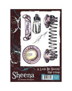 Sheena Douglass A Little Bit Sketchy A6 Rubber Stamp Set - High Voltage