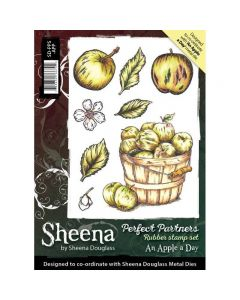 Sheena Douglass Perfect Partners A6 Rubber Stamp Set - An Apple A Day Stamp