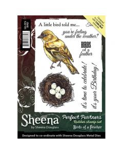 Sheena Douglass Perfect Partners A6 Rubber Stamp Set - Birds Of A Feather Stamp