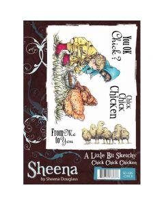 Sheena Douglass A Little Bit Sketchy A6 Rubber Stamp Set - Chick Chick Chicken