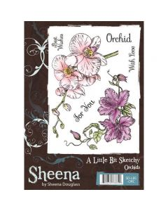 A Little Bit Sketchy A6 Rubber Stamp Set - Orchids