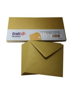 Craft UK 4x4 Kraft Card and Envelopes - pack of 30