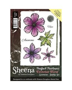 Sheena Douglass Perfect Partners Victorian Floral A6 Rubber Stamp Set - Anemone