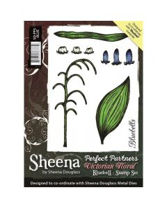 Sheena Douglass Perfect Partners Victorian Floral A6 Rubber Stamp Set - Bluebell
