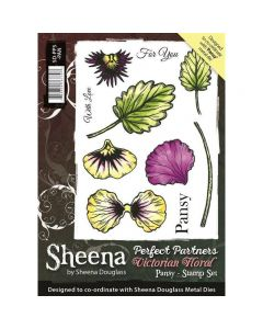 Perfect Partners Victorian Floral - Pansy A6 Rubber Stamp Set