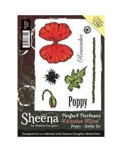 Sheena Douglass Perfect Partners Victorian Floral A6 Rubber Stamp Set - Poppy