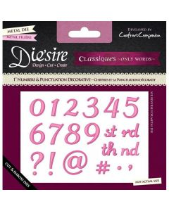 "Die'sire Classiques 1"" Dies - Decorative Numbers and Punctuation Die Set"