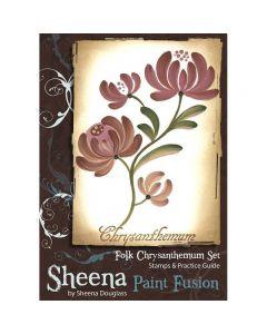 Sheena Douglass Paint Fusion Rubber Stamp - Folk Chrysanthemum