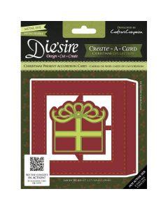 Die'sire Create-a-Card Accordion Card Metal Die - Christmas Present Square Accordion Die