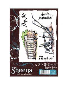Sheena Douglass A Little Bit Sketchy Rubber Stamp Set - Bygone Farm A6 Stamp
