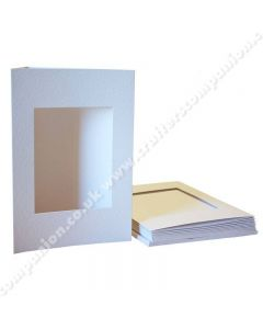 Craft UK A5 3 Fold Aperture Rectangle White Hammered Cards and Envelopes - pack of 10
