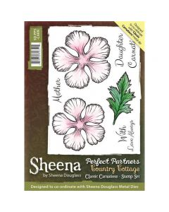 Sheena Douglass Perfect Partners Country Cottage A6 Rubber Stamp Set - Classic Carnations