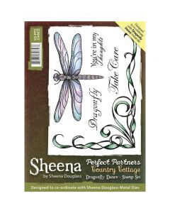 Sheena Douglass Perfect Partners Country Cottage A6 Rubber Stamp Set - Dragonfly Dance