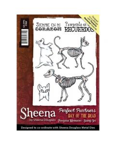 Sheena Douglass Perfect Partners Day of the Dead A6 Rubber Stamp Set - Pawprint Memories