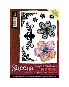 Sheena Douglass Perfect Partners Day of the Dead A6 Rubber Stamp Set - Floral Fiesta