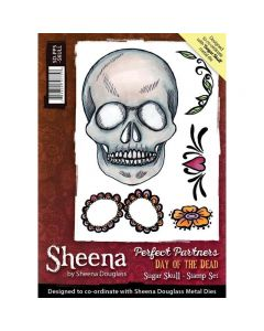 Sheena Douglass Perfect Partners Day of the Dead A6 Rubber Stamp Set - Sugar Skull