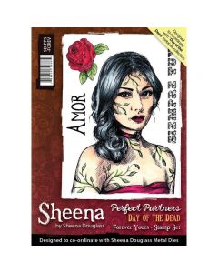 Sheena Douglass Perfect Partners Day of the Dead A6 Rubber Stamp Set - Forever Yours
