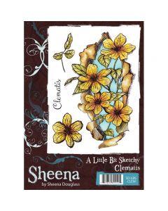 Sheena Douglass A Little Bit Sketchy A6 Rubber Stamp Set - Clematis