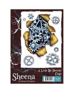 Sheena Douglass A Little Bit Sketchy A6 Rubber Stamp Set - Cogs