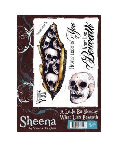 Sheena Douglass A Little Bit Sketchy A6 Rubber Stamp Set - What Lies Beneath