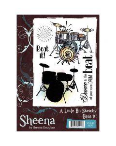 Sheena Douglass A Little Bit Sketchy A6 Rubber Stamp Set - Beat It