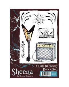 Sheena Douglass A Little Bit Sketchy A6 Rubber Stamp Set - Rock n Roll