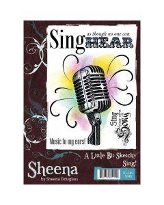 Sheena Douglass A Little Bit Sketchy A6 Rubber Stamp Set - Sing!