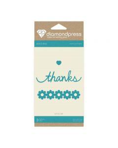 Diamond Press Word Dies - Thanks and Flowers