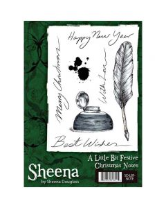 Sheena Douglass A Little Bit Festive A6 Christmas Rubber Stamp Set - Christmas Notes