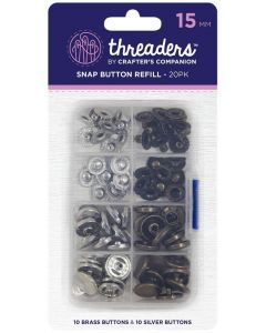 Threaders 15mm Snap Button Refill Pack - 20 Buttons