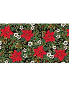 Makower Deck the Halls Fabric - Large Poinsettia Black