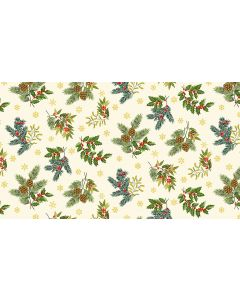 Makower Deck the Halls Fabric - Foliage Cream