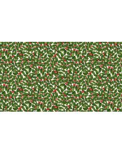 Makower Deck the Halls Fabric - Holly Cream