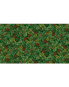 Makower Deck the Halls Fabric - Leaf Swirl Green