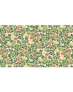 Makower Deck the Halls Fabric - Leaf Swirl Cream