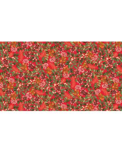 Makower Deck the Halls Fabric - Leaf Swirl Red