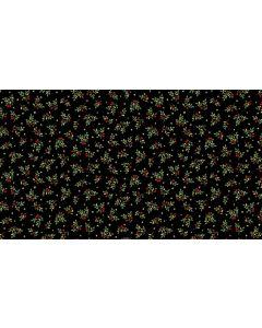 Makower Deck the Halls Fabric - Leaf Spray Black