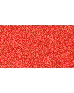 Makower Deck the Halls Fabric - Metallic Leaves Red