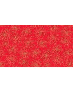 Makower Deck the Halls Fabric - Poinsettia Outline Red