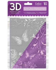 "Crafter's Companion 5""x7"" 3D Embossing Folder - Butterfly Trellis"