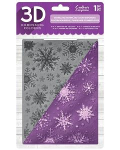 "Crafter's Companion 5""x7"" 3D Embossing Folder - Sparkling Snowflake"