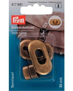 Prym Antique Brass Turn Clasp for Bags