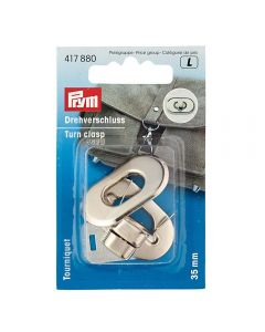 Prym Turn clasp for bags - Antique Silver Brushed